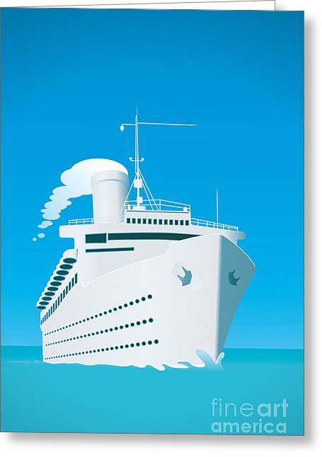 An Image Of A White Cruise Ship And The Greeting Card