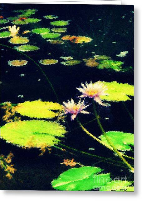 An Impressionistic Lilly Pond  Greeting Card by Mindy Bench