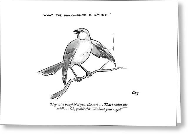 An Incendiary Mockingbird Is Depicted Greeting Card
