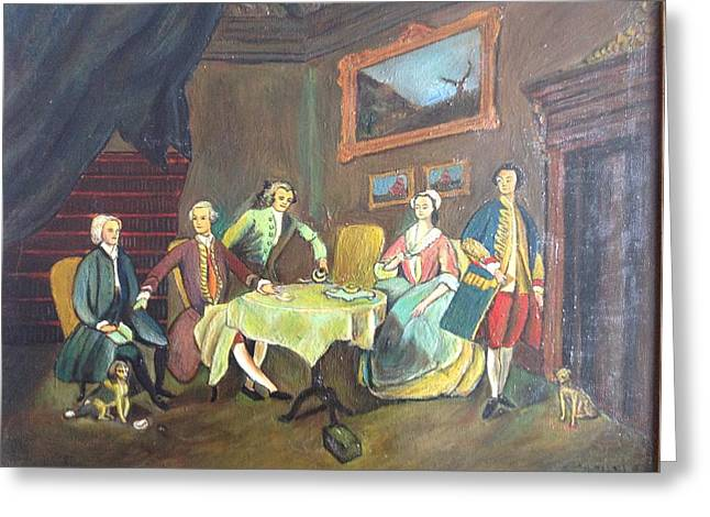Greeting Card featuring the painting An Interior Setting by Egidio Graziani