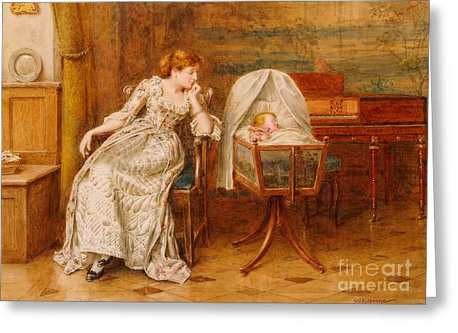 An Interior With A Mother And Child Greeting Card by George Goodwin Kilburne