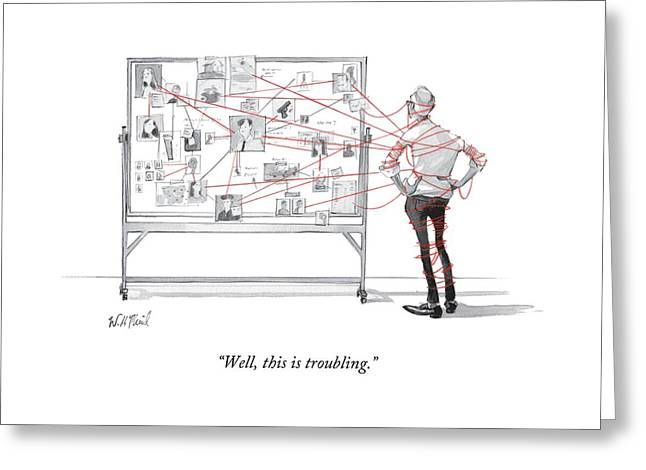 An Investigator Wrapped Up In The String Greeting Card