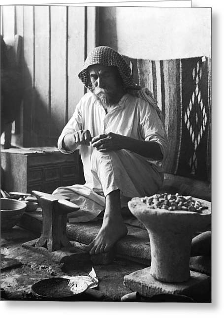 An Iraqi Silversmith At Work Greeting Card by Underwood Archives