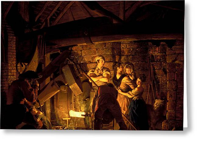 An Iron Forge Greeting Card by Joseph Wright of Derby