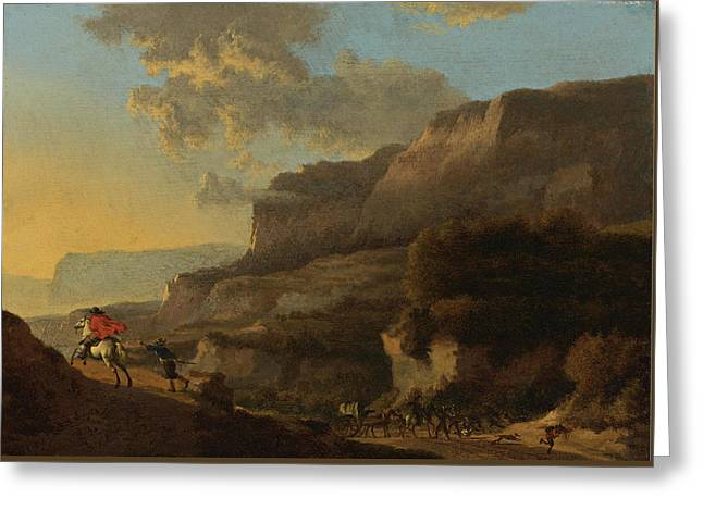 An Italianate Landscape With Travellers Ambushed By Bandits Greeting Card