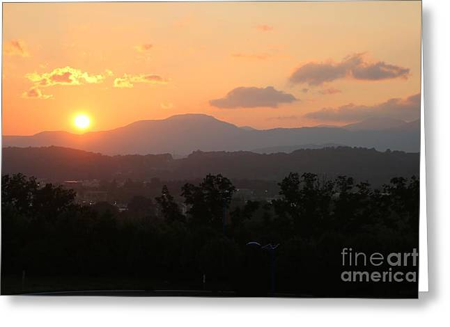 An Oak Ridge Sunset Greeting Card by Jay Nodianos