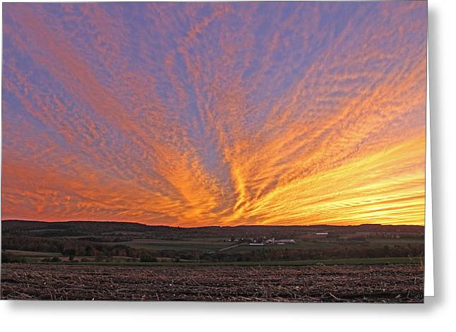 An October  Sunset In Pompey Center Greeting Card