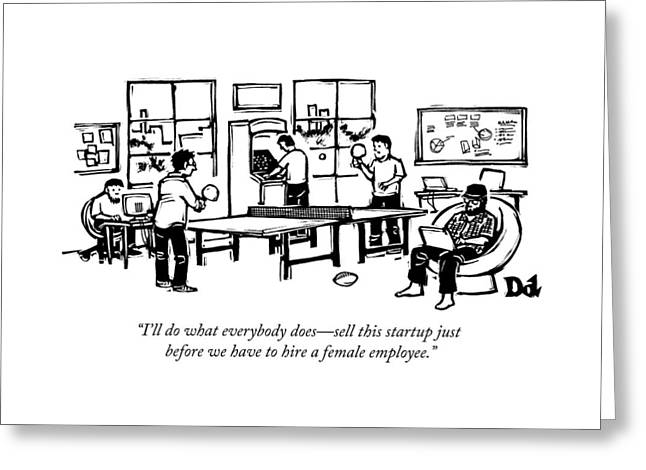 An Office Of Male Tech Entrepreneurs Greeting Card