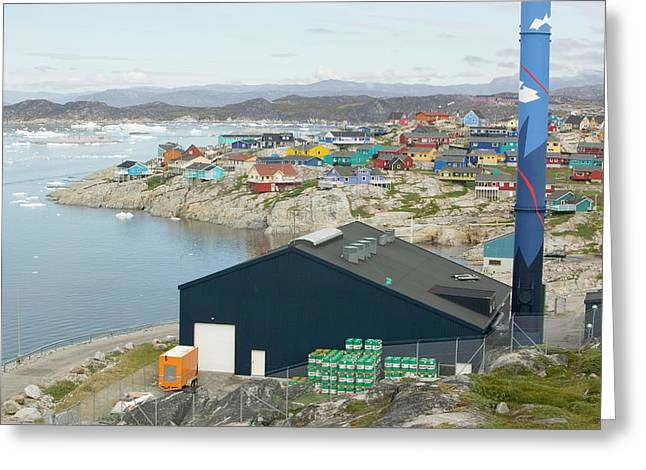 An Oil Fired Power Plant In Ilulissat Greeting Card by Ashley Cooper
