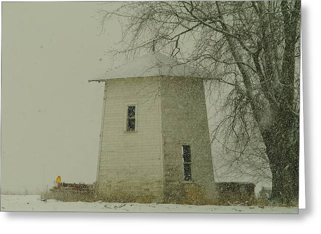 An Old Bin In The Snow Greeting Card by Jeff Swan