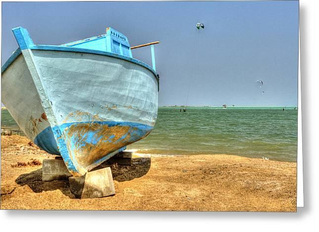 An Old Boat At Hamata Kite Surfing Spot Greeting Card by Julis Simo