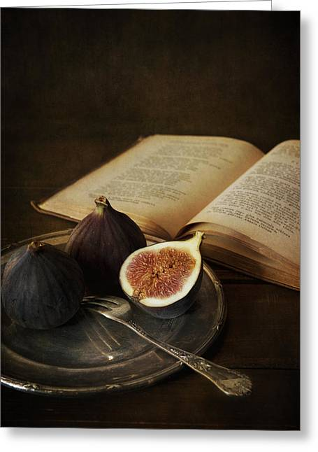 An Old Books And Fresh Figs Greeting Card by Jaroslaw Blaminsky