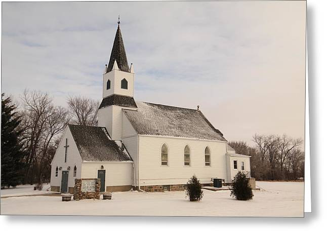 An Old Church In Palermo North Dakota Greeting Card