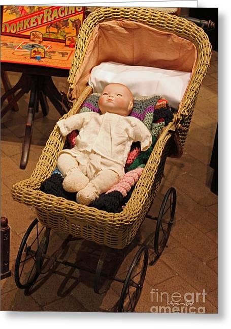An Old Fashioned Christmas - Baby Buggy Greeting Card by Suzanne Gaff