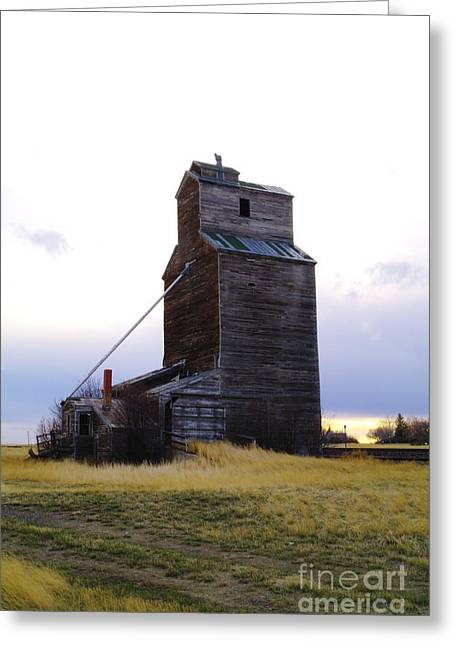 An Old Grain Elevator Off Highway Two In Montana Greeting Card by Jeff Swan