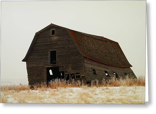 An Old Leaning Barn In North Dakota Greeting Card by Jeff Swan