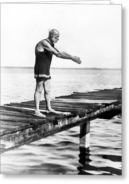 An Old Man Prepares To Dive Greeting Card
