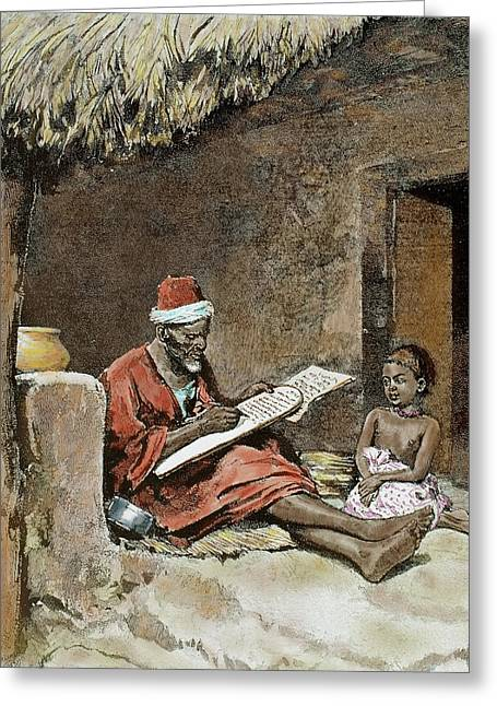 An Old Man Teach To Write A Child Greeting Card by Prisma Archivo