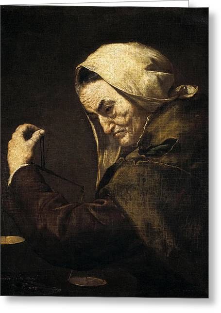 An Old Money-lender  Greeting Card by Jusepe de Ribera
