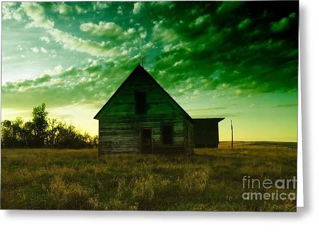 An Old North Dakota Farm House Greeting Card by Jeff Swan