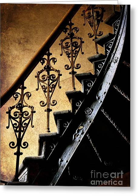 An Old Ornamented Handrail And Metal Spiral Stairs Greeting Card