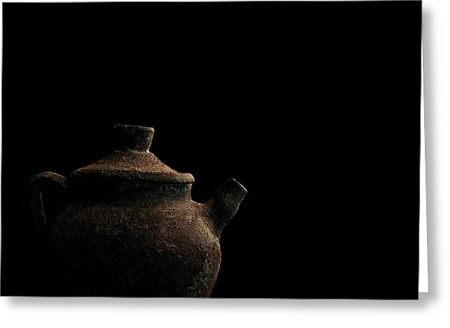 Greeting Card featuring the photograph An Old Pot by Marwan Khoury