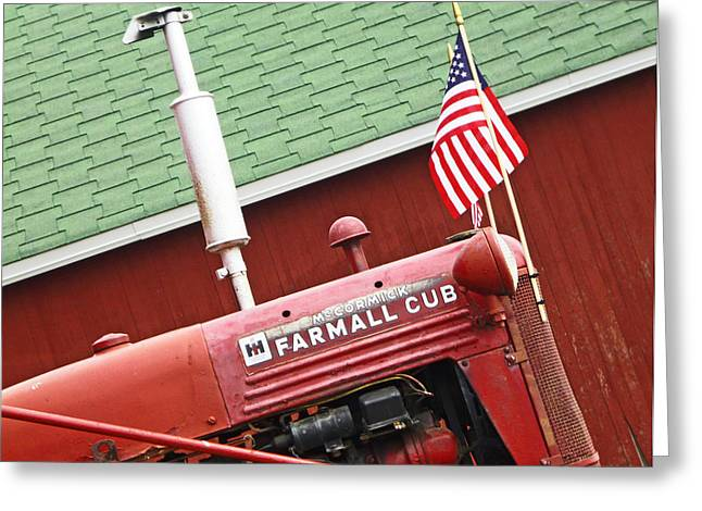 An Old Red Tractor Greeting Card by Michael Allen