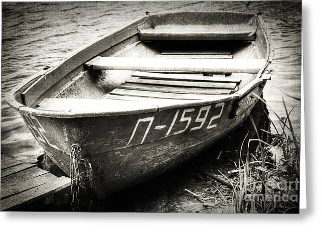 An Old Row Boat In Black And White Greeting Card by Emily Kay