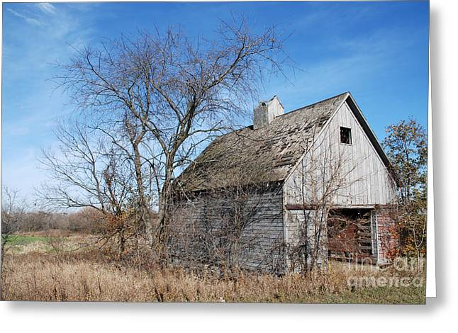 An Old Rundown Abandoned Wooden Barn Under A Blue Sky In Midwestern Illinois Usa Greeting Card