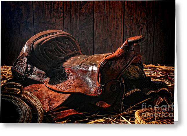 An Old Saddle Greeting Card by Olivier Le Queinec