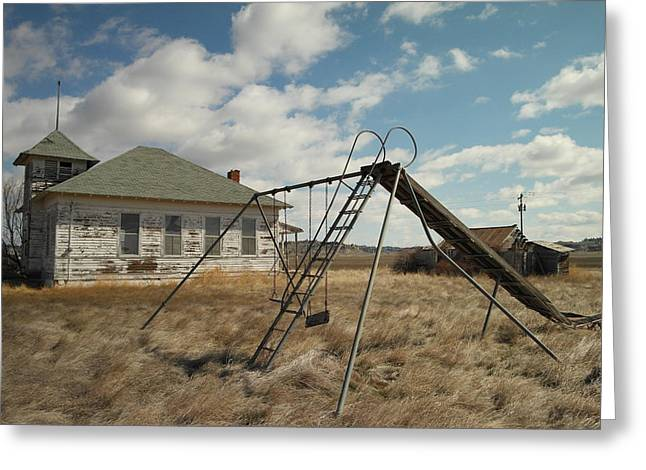 An Old School Near Miles City Montana Greeting Card by Jeff Swan
