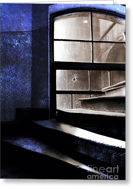 An Old Stairs And The Broken Window Greeting Card