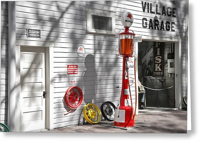 An Old Village Gas Station Greeting Card by Mal Bray