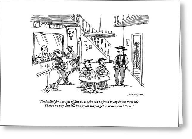 An Old Western Cowboy Speaks To Other Cowboys Greeting Card