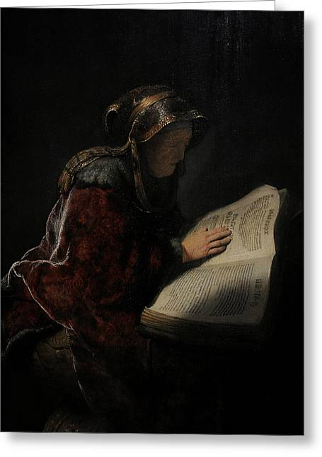 An Old Woman Reading, Probably The Prophetess Hannah, 1631, By Rembrandt 1606-1669 Greeting Card by Bridgeman Images