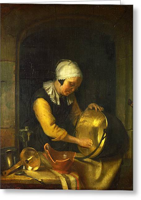 An Old Woman Scouring A Pot Greeting Card by Godfried Schalcken