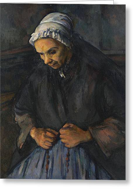 An Old Woman With A Rosary Greeting Card