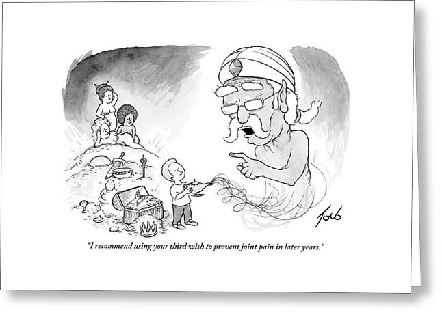 An Older Genie Speaks To Young Boy As He Emerges Greeting Card by Tom Toro