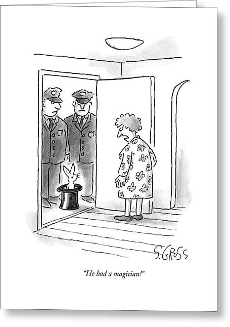 An Older Woman Stands At Her Door Greeting Card