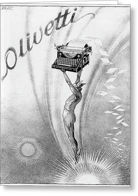 An Olivetti Typewriter Is Held  Aloft Greeting Card