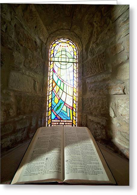 An Open Bible And A Stained Glass Greeting Card by John Short