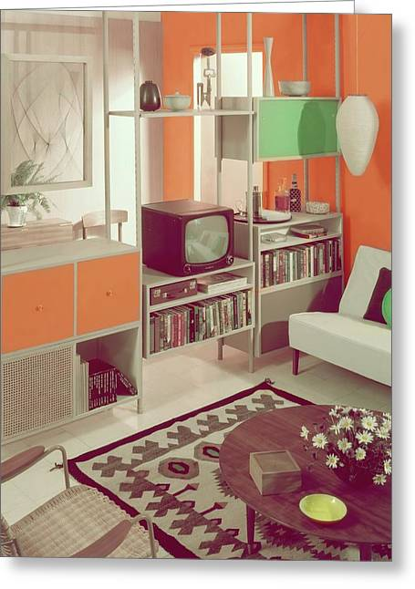 An Orange Living Room Greeting Card