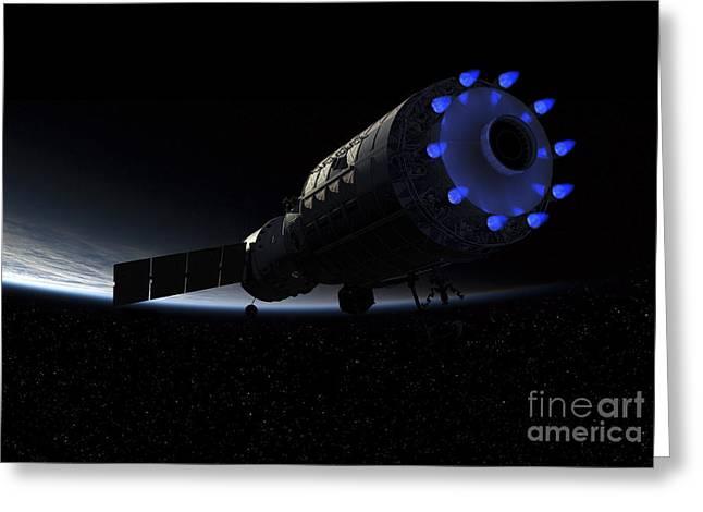 An Orbital Maintenance Platform Fires Greeting Card
