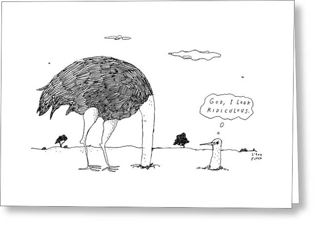 An Ostrich, With Its Head In The Ground, Peaks Greeting Card