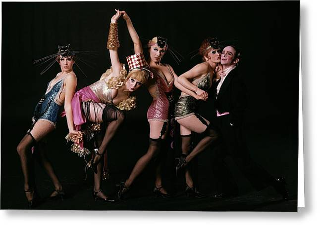 An Outtake Of Joel Grey With The Kit Kat Girls Greeting Card by Bert Stern