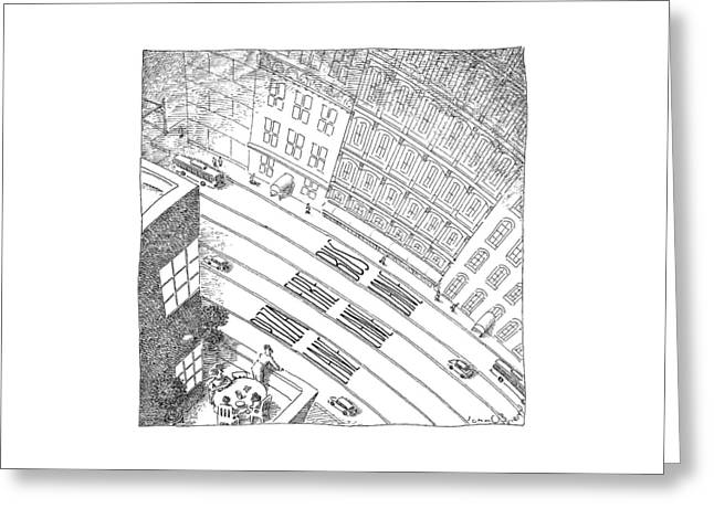 An Overhead Shot Of A Street Reveals Three Lanes Greeting Card