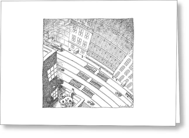 An Overhead Shot Of A Street Reveals Three Lanes Greeting Card by John O'Brien