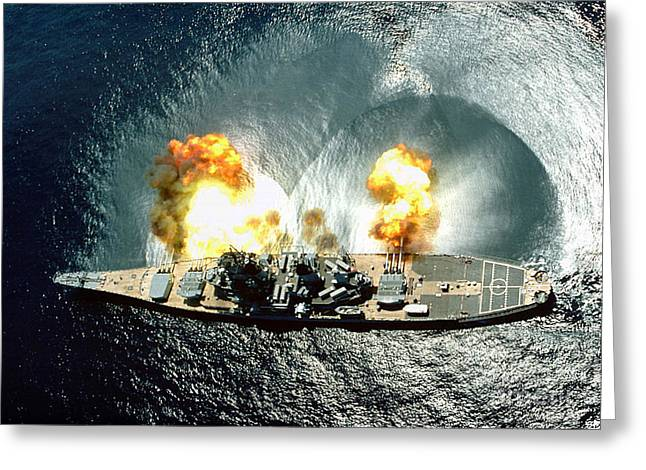 An Overhead View Of The Battleship Uss Iowa Bb61 Firing All 15 Of Its Guns Greeting Card