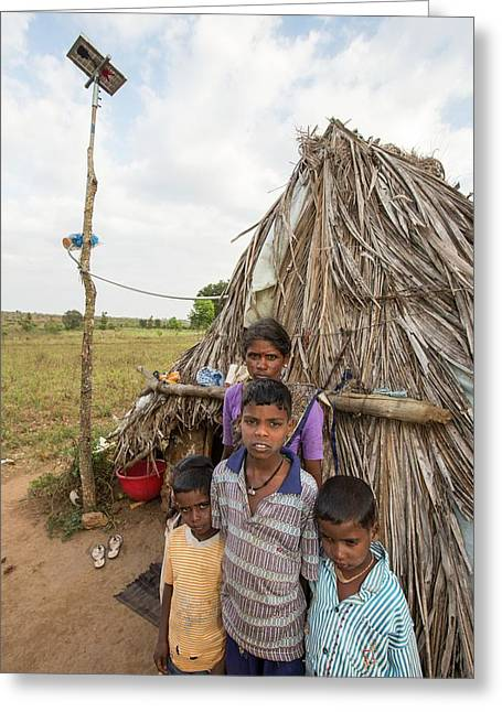 An Untouchable Family Outside Their Hut Greeting Card