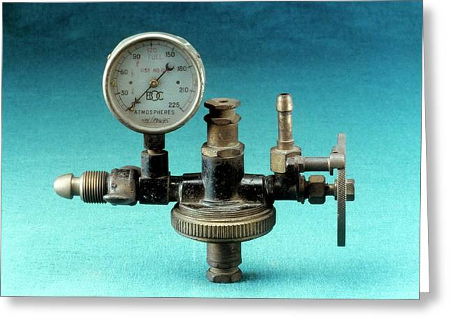 Anaesthetic Machine Reducing Valve Greeting Card by Science Photo Library